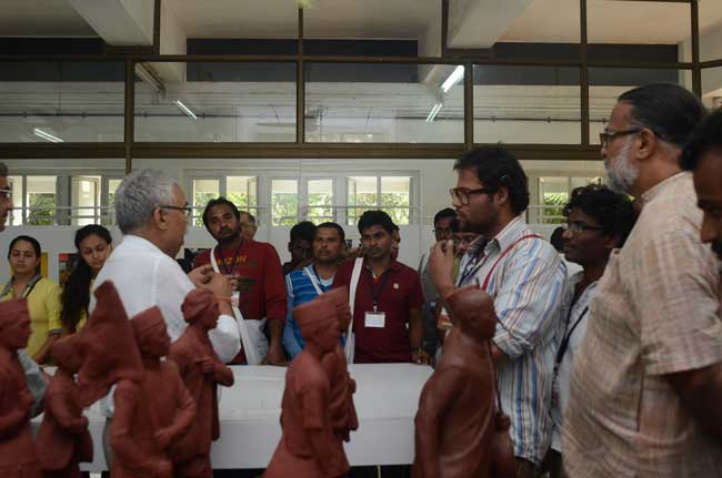 Prof. Kirti Trivedi interacting with students and visitors