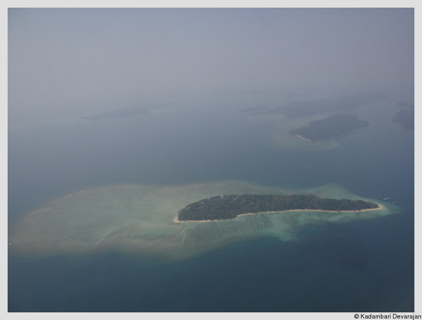 An aerial view of one of the islands