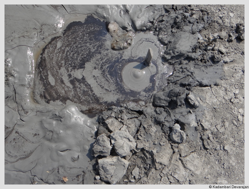 A mud volcano bubbling away